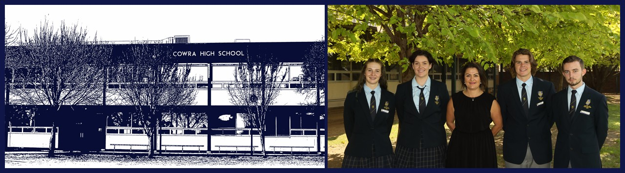 Front of Cowra High School and the principal and captains